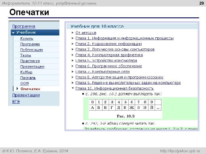 Информатика, 10 -11 класс, углублённый уровень 29 Опечатки К. Ю. Поляков, Е. А. Ерёмин,