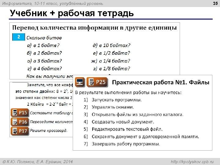 Информатика, 10 -11 класс, углублённый уровень 35 Учебник + рабочая тетрадь К. Ю. Поляков,