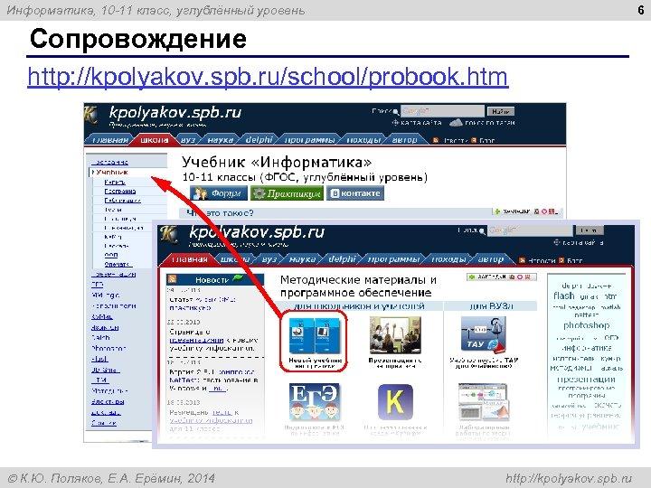 6 Информатика, 10 -11 класс, углублённый уровень Сопровождение http: //kpolyakov. spb. ru/school/probook. htm К.