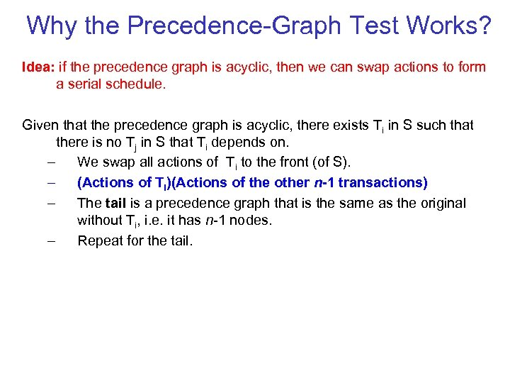 Why the Precedence Graph Test Works? Idea: if the precedence graph is acyclic, then