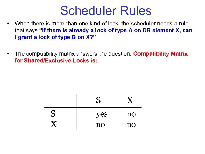 Scheduler Rules • When there is more than one kind of lock, the scheduler
