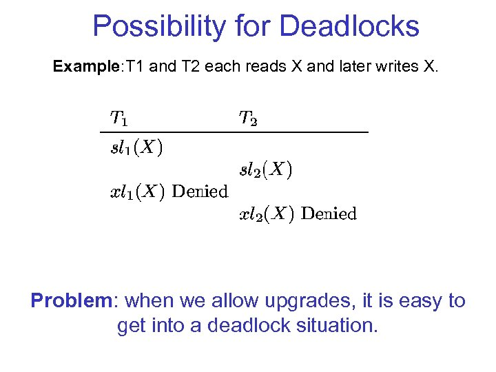 Possibility for Deadlocks Example: T 1 and T 2 each reads X and later