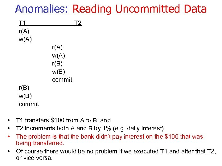 Anomalies: Reading Uncommitted Data T 1 r(A) w(A) T 2 r(A) w(A) r(B) w(B)