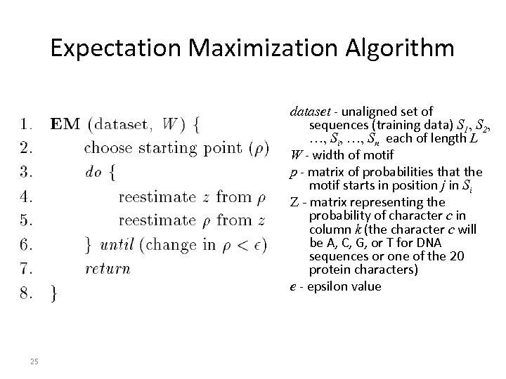 Expectation Maximization Algorithm dataset - unaligned set of sequences (training data) S 1, S