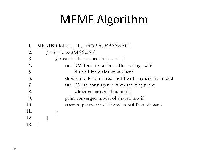 MEME Algorithm 26