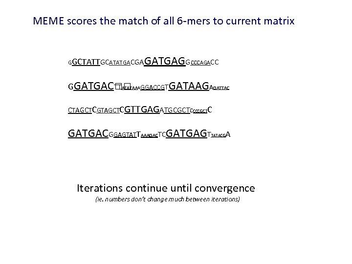 MEME scores the match of all 6 -mers to current matrix GGCTATTGCATATGACGA GATGAGGCCCAGACC GGATGAC