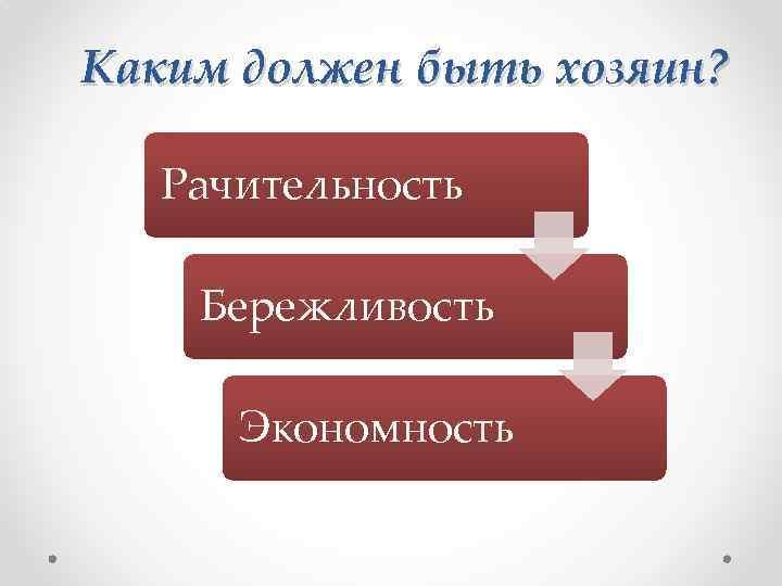 Каким должен быть хозяин? Рачительность Бережливость Экономность