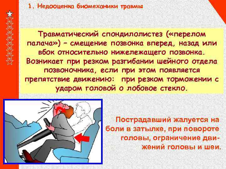 1. Недооценка биомеханики травмы Травматический спондилолистез ( «перелом палача» ) – смещение позвонка вперед,