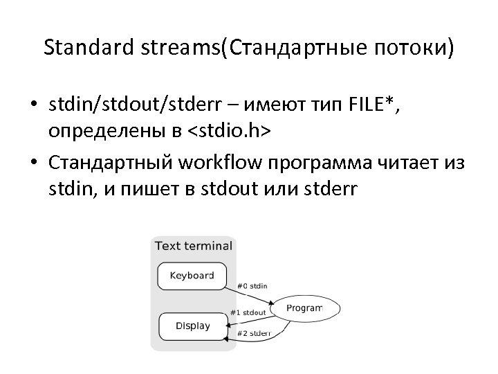 Standard streams(Стандартные потоки) • stdin/stdout/stderr – имеют тип FILE*, определены в <stdio. h> •