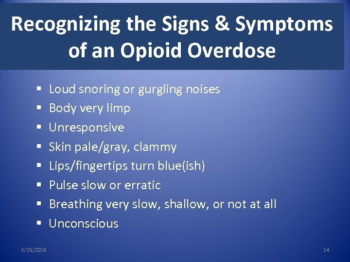 Recognizing the Signs & Symptoms of an Opioid Overdose § § § § 3/19/2018