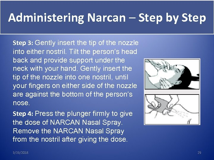 Administering Narcan – Step by Step 3: Gently insert the tip of the nozzle