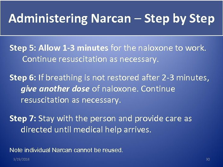 Administering Narcan – Step by Step 5: Allow 1 -3 minutes for the naloxone
