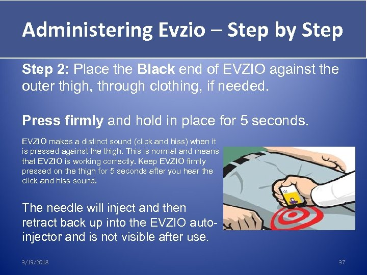Administering Evzio – Step by Step Give Evzio Step 2: Place the Black end