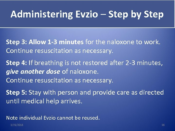 Administering Evzio – Step by Step Give Evzio Step 3: Allow 1 -3 minutes