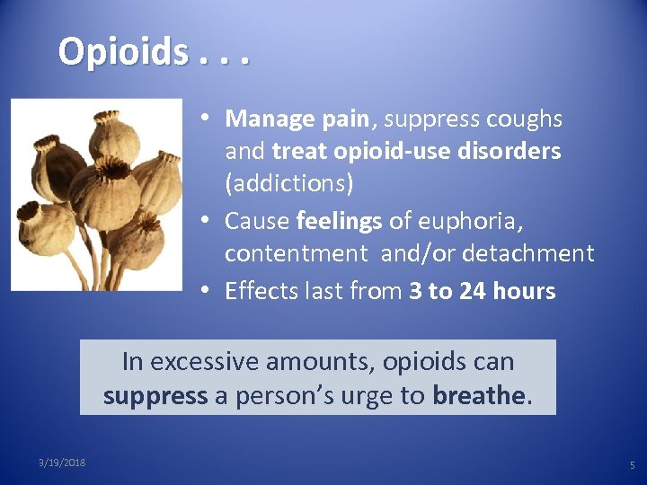 Opioids. . . • Manage pain, suppress coughs and treat opioid-use disorders (addictions) •