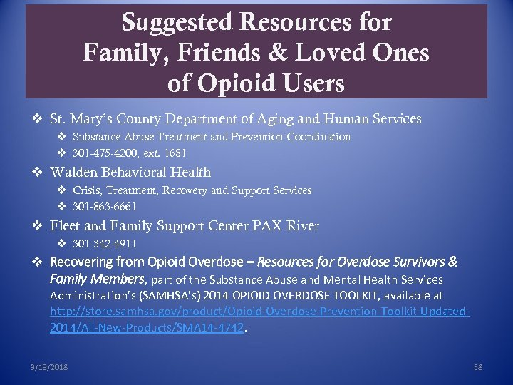 Suggested Resources for Family, Friends & Loved Ones of Opioid Users v St. Mary's
