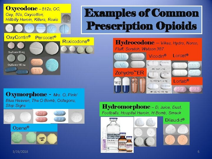 Oxycodone – 512 s, OC, Examples of Common Prescription Opioids Oxy, 80 s, Oxycotton,