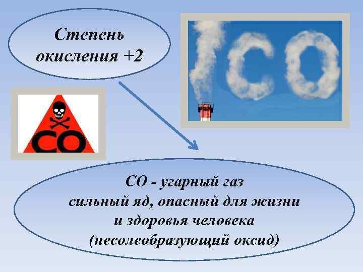 Степень окисления +2 CO - угарный газ сильный яд, опасный для жизни и здоровья