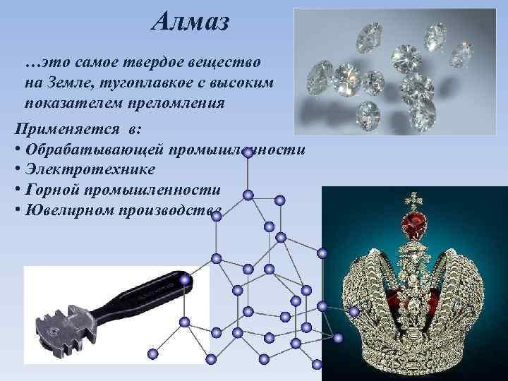 Алмаз …это самое твердое вещество на Земле, тугоплавкое с высоким показателем преломления Применяется в: