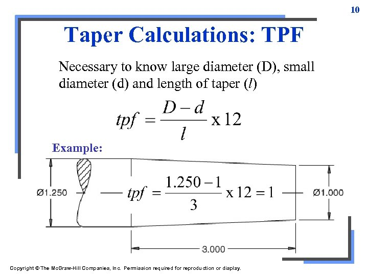 10 Taper Calculations: TPF Necessary to know large diameter (D), small diameter (d) and