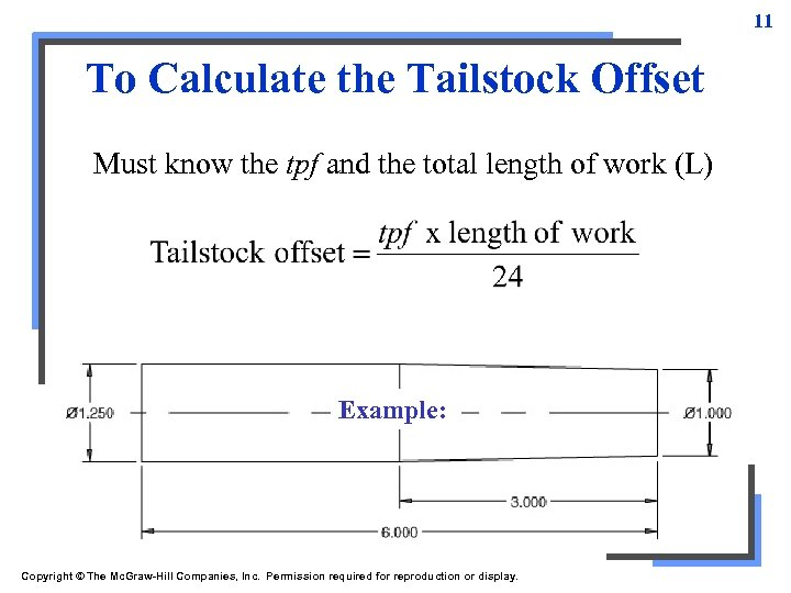 11 To Calculate the Tailstock Offset Must know the tpf and the total length