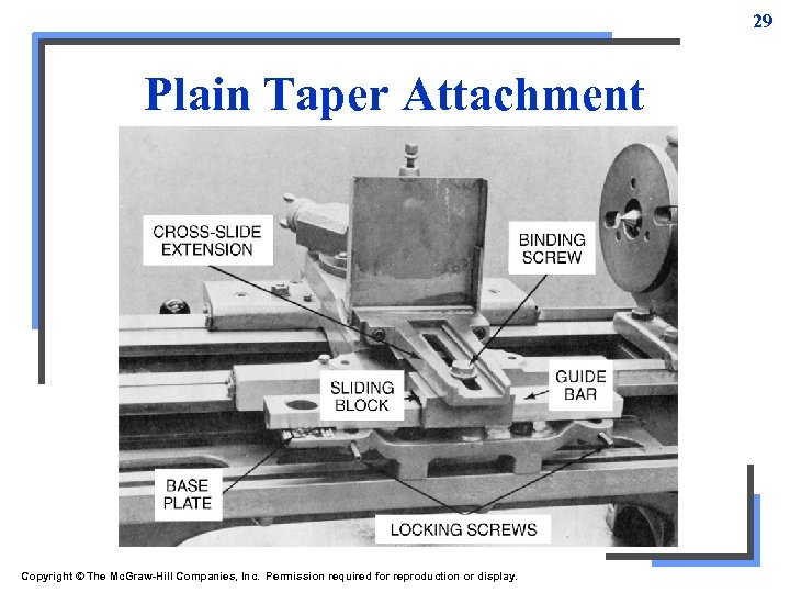 29 Plain Taper Attachment Copyright © The Mc. Graw-Hill Companies, Inc. Permission required for