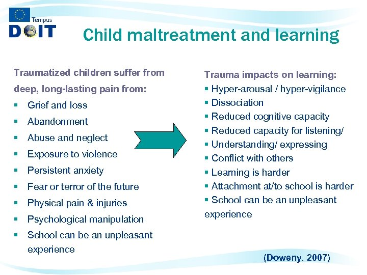 Child maltreatment and learning Traumatized children suffer from deep, long-lasting pain from: § Grief