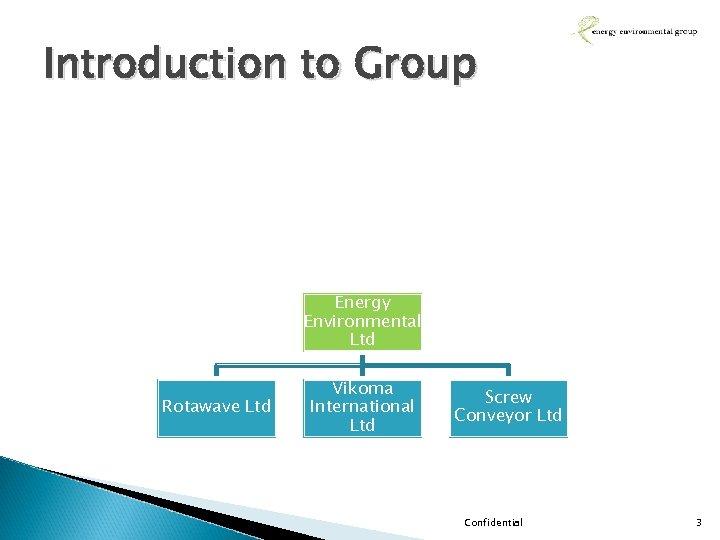 Introduction to Group Energy Environmental Ltd Rotawave Ltd Vikoma International Ltd Screw Conveyor Ltd