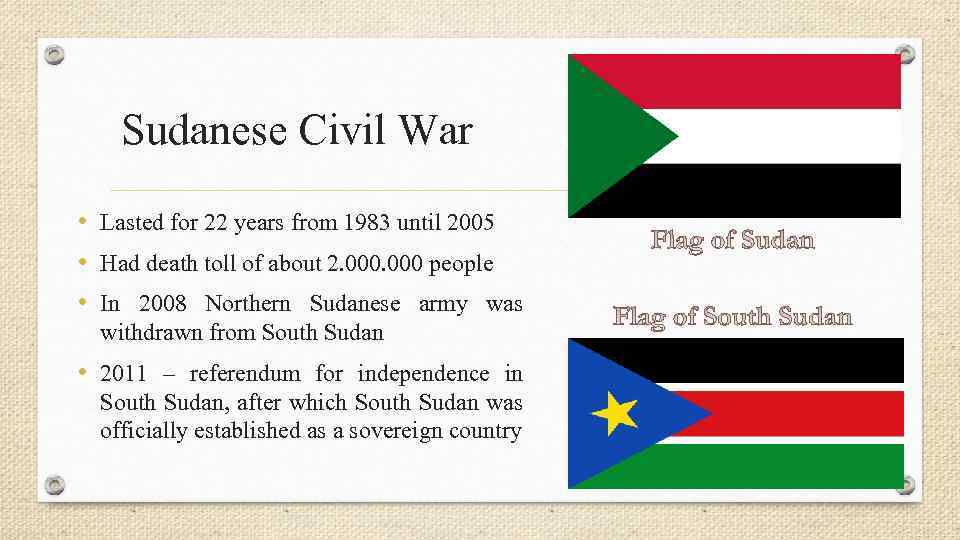 Sudanese Civil War • Lasted for 22 years from 1983 until 2005 • Had