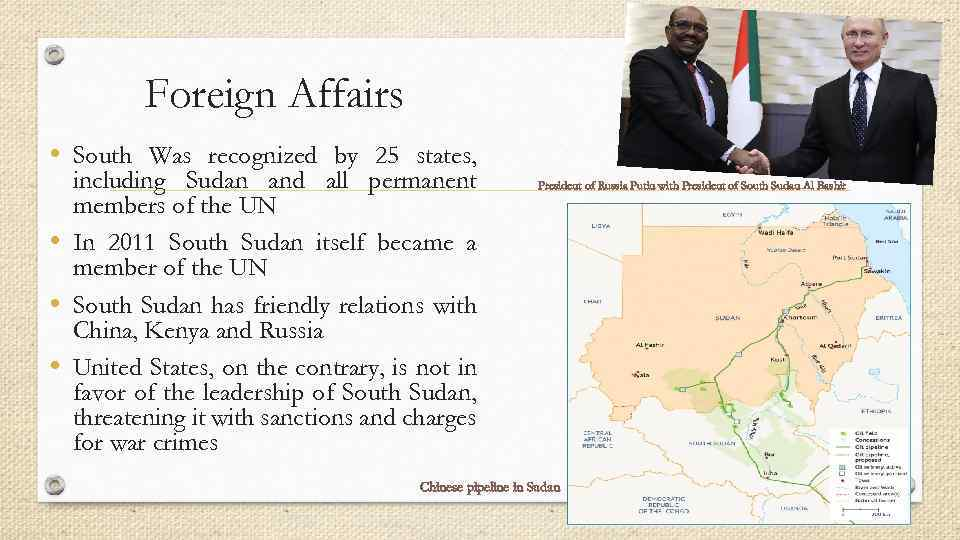 Foreign Affairs • South Was recognized by 25 states, including Sudan and all permanent