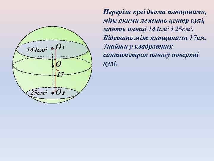 144 см² O₁ O 17 25 см² O₂ Перерізи кулі двома площинами, між якими