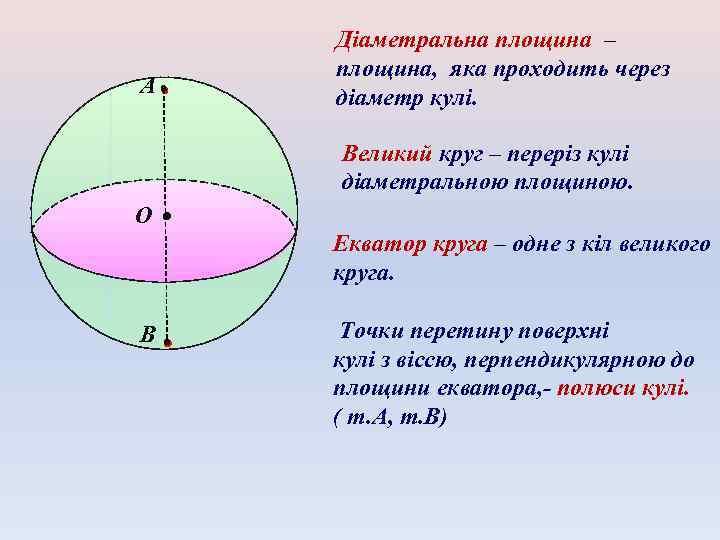 А Діаметральна площина – площина, яка проходить через діаметр кулі. Великий круг – переріз