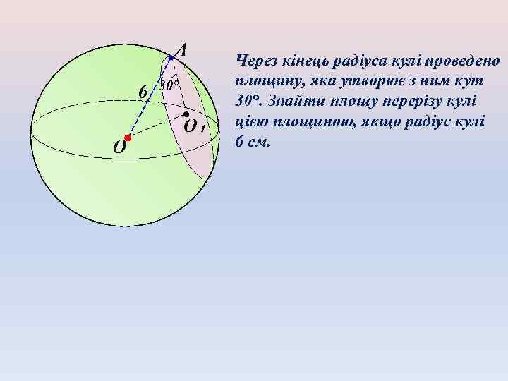 А 6 O 30° O₁ Через кінець радіуса кулі проведено площину, яка утворює з