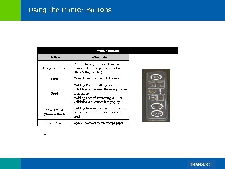 Using the Printer Buttons Button New (Quick Press) What it does Prints a Receipt