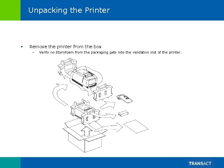 Unpacking the Printer § Remove the printer from the box – Verify no Styrofoam