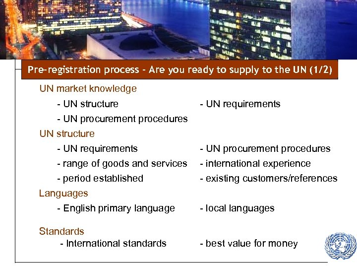 Pre-registration process – Are you ready to supply to the UN (1/2) UN market