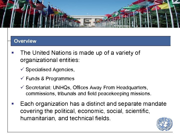 Overview § The United Nations is made up of a variety of organizational entities: