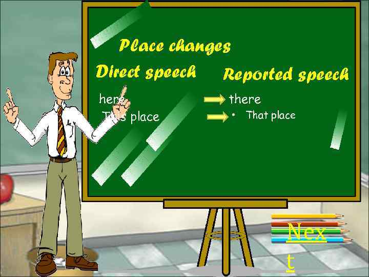 Place changes Direct speech Reported speech here This place there • That place Nex