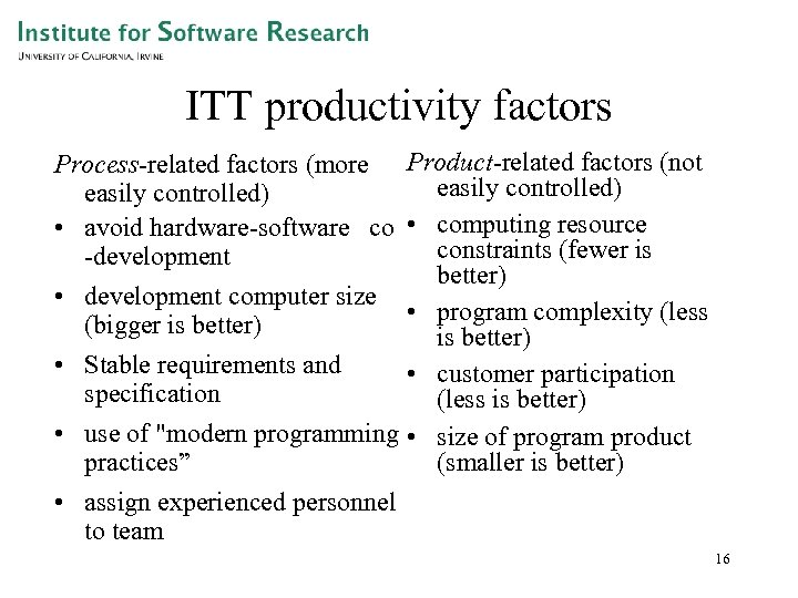 ITT productivity factors Process-related factors (more easily controlled) • avoid hardware-software co -development •