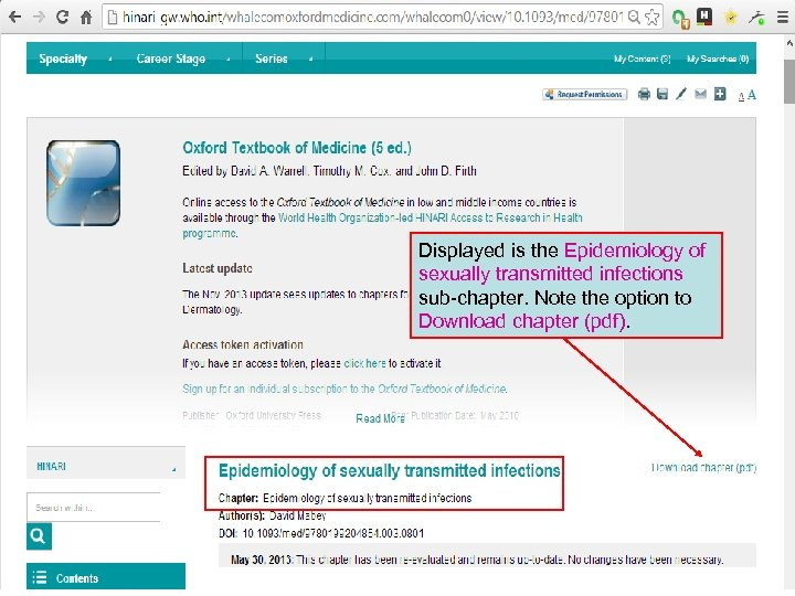 Displayed is the Epidemiology of sexually transmitted infections sub-chapter. Note the option to Download