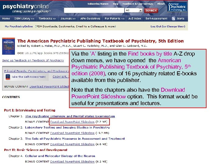 Via the 'A' listing in the Find books by title A-Z drop down menus,