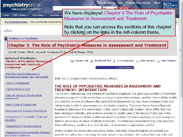 We have displayed Chapter 3. The Role of Psychiatric Measures in Assessment and Treatment.