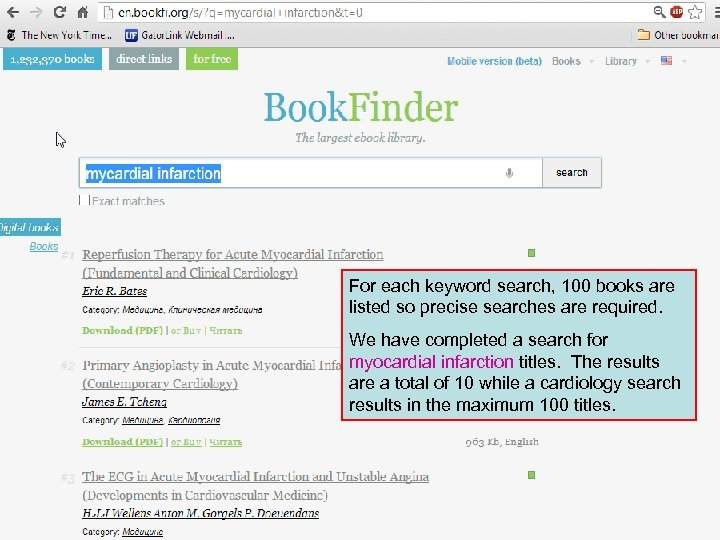 For each keyword search, 100 books are listed so precise searches are required. We