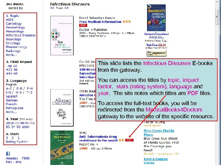 This slide lists the Infectious Diseases E-books from the gateway. You can access the