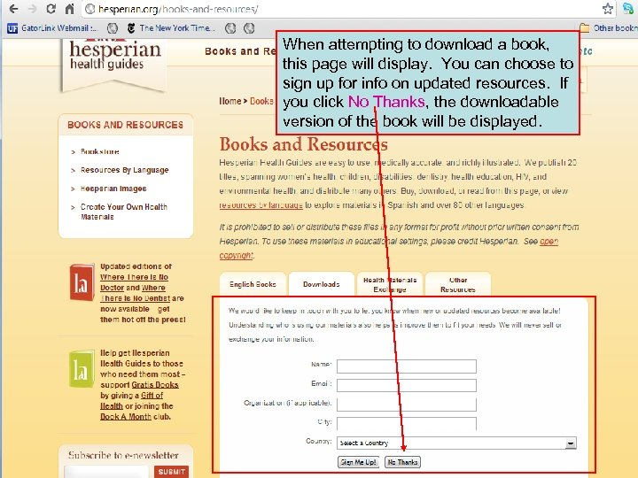 When attempting to download a book, this page will display. You can choose to