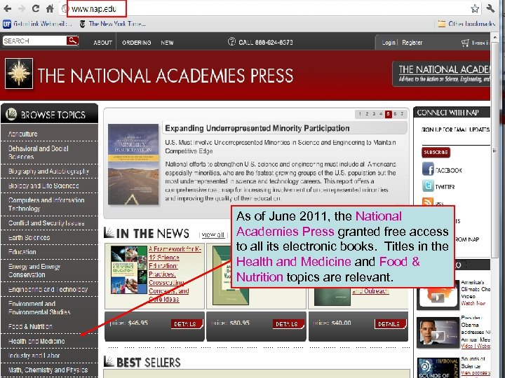 As of June 2011, the National Academies Press granted free access to all its