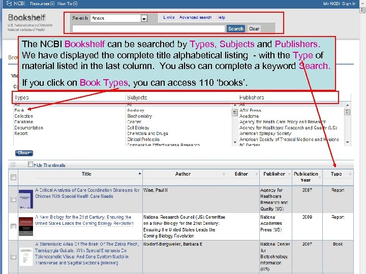 The NCBI Bookshelf can be searched by Types, Subjects and Publishers. We have displayed