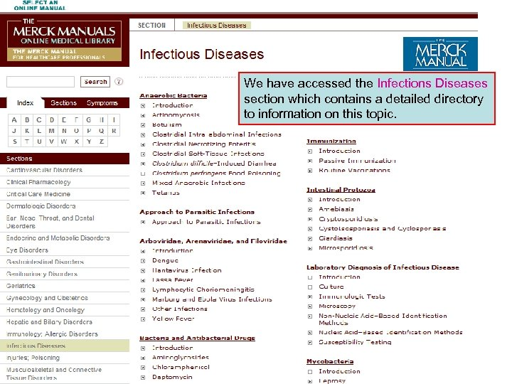 We have accessed the Infections Diseases section which contains a detailed directory to information