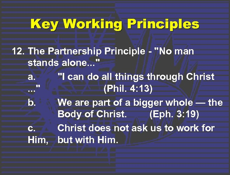 Key Working Principles 12. The Partnership Principle -
