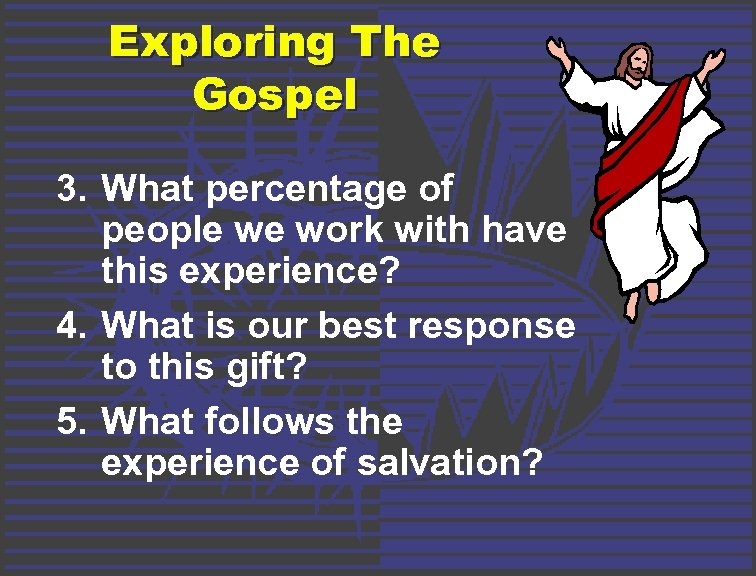 Exploring The Gospel 3. What percentage of people we work with have this experience?